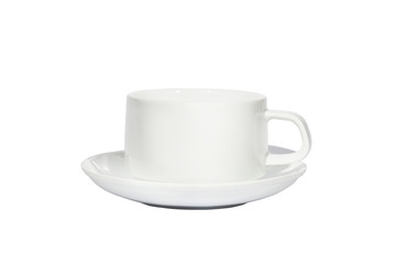 white cup of coffee white isolated background with copy space and clipping path.