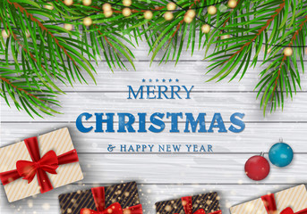 Christmas decorations. Merry Christmas. Green branches of a Christmas tree on a background of a tree with gifts and New Year's ornaments. Vector Eps10