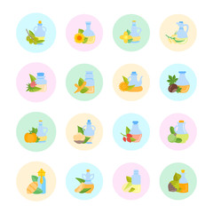 Set Vector Flat Icons of Oils
