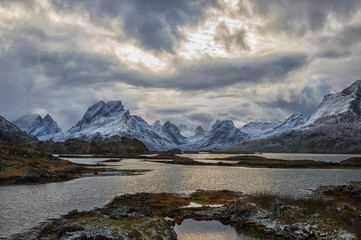 Snowcapped mountains, Fredvang, Flakstad, Nordland, Norway