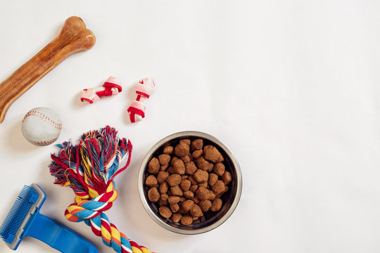 Dog food in metallic bowl and accessories on white background