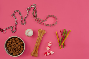 Dog food in metallic bowl and accessories on pink background
