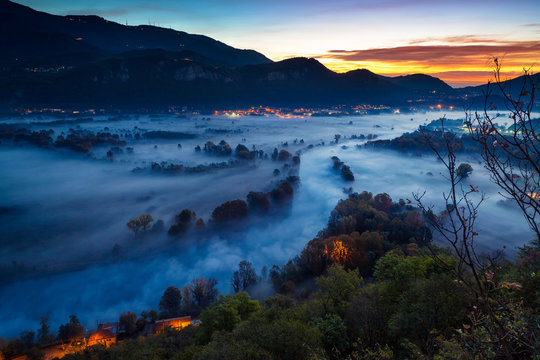 Adda river valley in the fog, Airuno, Lombardy, Italy