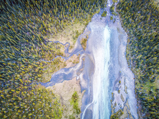 Tuinposter Rivier Aerial view of Bow river tributary, Banff National Park, Alberta, Canada
