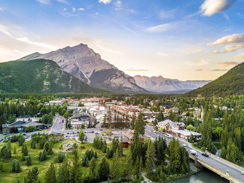Amazing cityscape of Banff in Rocky Mountains, Alberta,Canada