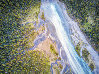Foto auf Leinwand Fluss Aerial view of Bow river tributary, Banff National Park, Alberta, Canada