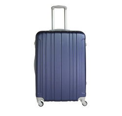 Dark blue suitcase isolated on white background. Polycarbonate suitcase isolated on white. Dark blue suitcase.