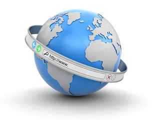 Web browser screen around the Earth (clipping path included)