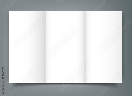 blank tri fold brochure mockup cover template isolated stock image
