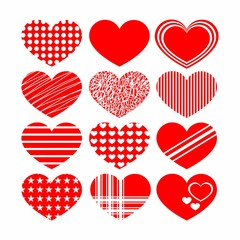 Set of red heart icons design elements for Valentine's day. Vector illustration