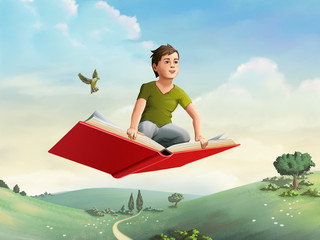 Children flying on a book