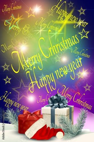 Buon Natale In Inglese.Cartolina Di Auguri Di Buon Natale E Anno Nuovo In Inglese Stock