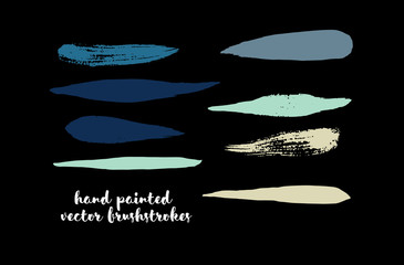 Graffiti Lines. Hand Painted Blue Buttons, Turquoise Highlights. Vector Brushstrokes or Banners. Textured Doodles or Smears. Background Turquoise Swatch Collection Vintage Logo Element. Scribble Paint