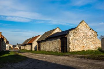 Historic barns in Zarki city in Jura Krakowsko-Czestochowska, Silesia, Poland