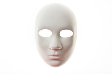 White carnival mask isolated on white background