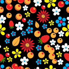Abstract seamless pattern with berries, leaves and flowers