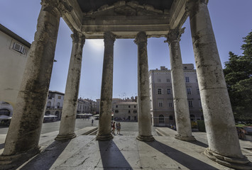 Columns at entrance of the Temple of Augustus in Pula, Istria, Croatia