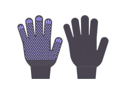 Flat black gloves for work. Vector illustration. Protective work gloves isolated on white background