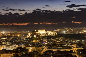 acropolis of athens at night