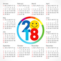 2018 office smiling calendar for whole year. Celebrating congratulating funny cute minimal annual numbers, isolated schedule, square mock up. Colored friendly greetings or presentation elements.