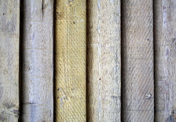 Close up of painted wooden slats in a fence for texture and background