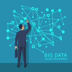 Big data concept. Businessman with briefcase standing about wall with diagram of data. Futuristic infographic. Network information. Modern digital technologies. Visualization research statistics.