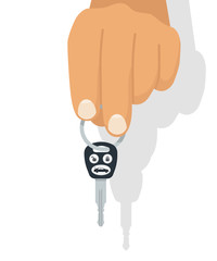 Car key in hand. Vector illustration flat design. Isolated on white background. Maybe as a template for the sale, purchase, rental, presentation. Give, show keys.