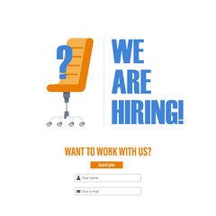 "Office chair with a question mark. Tagline ""We Are Hiring"". The idea for recruiting and hiring. Vector illustration"