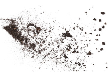 Dirt, soil pile isolated on white background, top view Wall mural