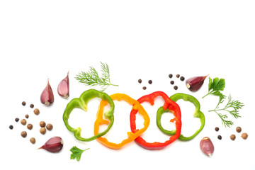 sliced sweet bell pepper, garlic and parsley isolated on white background. top view