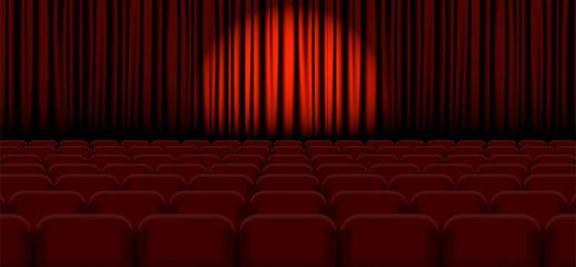 Spotlight on stage curtain. Vector.