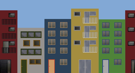 Häuserfront mit bunten Häusern.