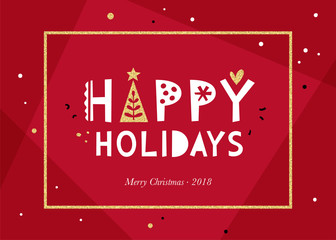 Red Happy Holidays background.