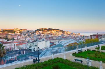 Lisbon skyline at sunset. Portugal