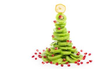 Christmas tree with kiwi and pomegranate