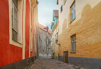 Street of the old town of Tallinn in Estonia