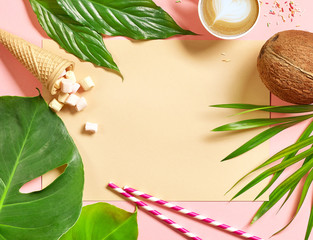 Wall Mural - holiday background with tropical leaves