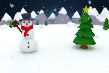Low poly christmas tree and snowman