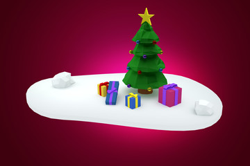 Low polygon christmas tree with presents