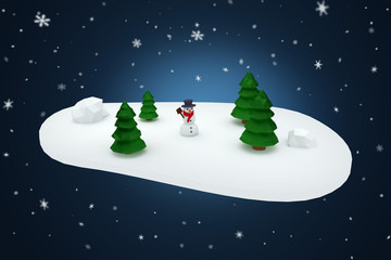Low polygon scene with snowman and trees