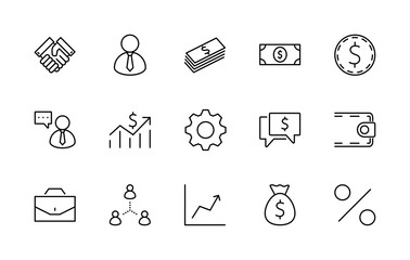 Set of business vector line icons. It contains symbols of a handshake, a user, dollar pictograms, gears, a briefcase, a bag of money, a schedule and much more. Editable move. 32x32 pixels.