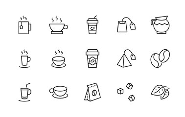 Set of Coffee and Tea Vector Line Icons. Contains such Icons as Cup of Tea,  Teabags, Coffee beans and Green Tea Leaves, a pitcher of Water, Sugar Cubes and more. Editable Stroke. 32x32 Pixel Perfect