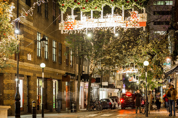 Seven dials at Christmas time in London