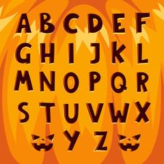 Halloween pumpkin font alphabet text symbols vector illustration.