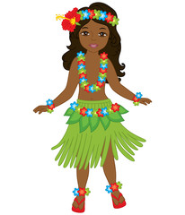 Vector Beautiful Young Girl in Traditional Hawaiian Costume Dancing Hula