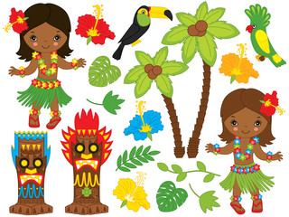 Vector Hawaiian Set with Cute, Little Girls, Tiki Masks, Birds and Hibiscus