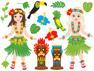 Vector Hawaiian Set with Beautiful Young Girls, Tiki Masks, Birds and Hibiscus