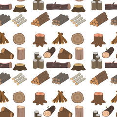 Stacked wood pine timber for construction building cut stump lumber tree bark seamless pattern background vector illustration.