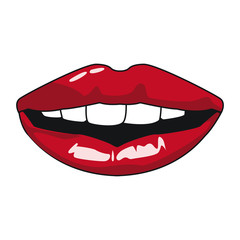 Sexy lips pop art icon vector illustration graphic design