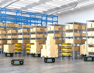 Black robot carriers carrying goods in modern warehouse.  Modern delivery center concept. 3D rendering image.